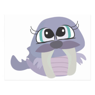 cute silly purple walrus vector character postcard