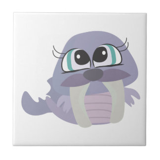 cute silly purple walrus vector character tiles