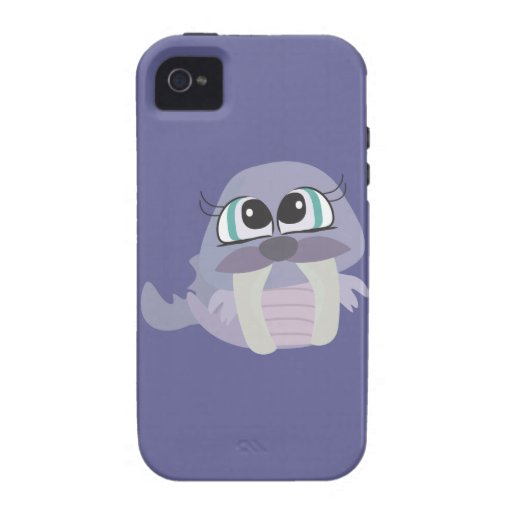 cute silly purple walrus vector character vibe iPhone 4 cover