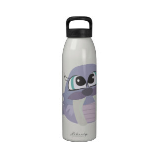 cute silly purple walrus vector character reusable water bottle