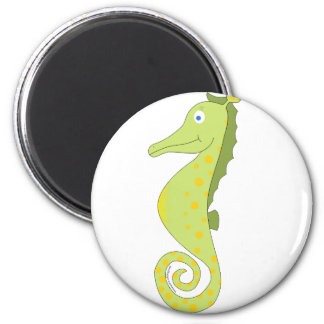 Cute & silly seahorse (green and yellow) gifts. magnet