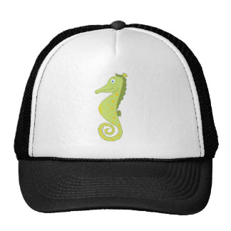 Cute & silly seahorse (green and yellow) gifts. trucker hat