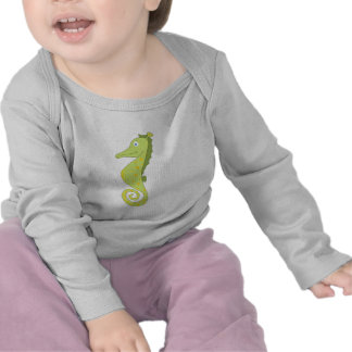 Cute & silly seahorse (green and yellow) gifts. t-shirts