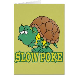 cute silly slow poke turtle cartoon greeting card