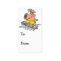 cute silly surfer surfing piggy pig label
