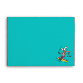 cute silly surfing surfer cow cartoon envelopes