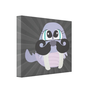 cute silly walrus cartoon with mustache canvas print