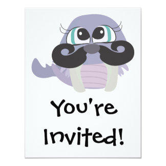 cute silly walrus cartoon with mustache 4.25x5.5 paper invitation card