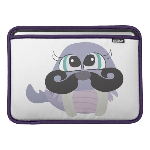 cute silly walrus cartoon with mustache sleeves for MacBook air