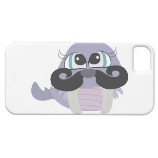 cute silly walrus cartoon with mustache iPhone SE/5/5s case