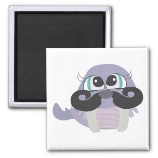 cute silly walrus cartoon with mustache magnets