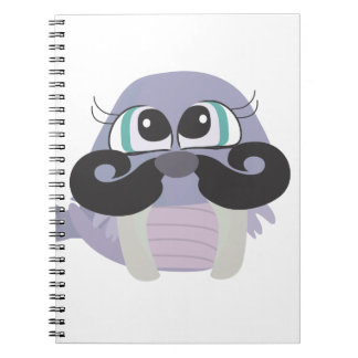 cute silly walrus cartoon with mustache note book