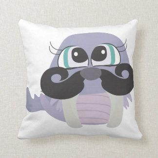 cute silly walrus cartoon with mustache pillows