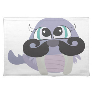cute silly walrus cartoon with mustache placemats