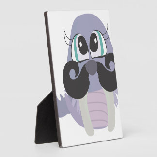 cute silly walrus cartoon with mustache display plaques
