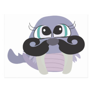 cute silly walrus cartoon with mustache postcard