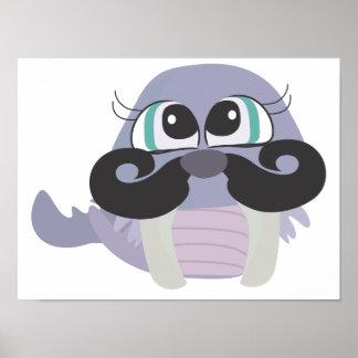 cute silly walrus cartoon with mustache print