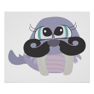 cute silly walrus cartoon with mustache posters