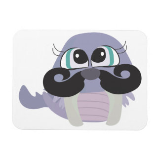 cute silly walrus cartoon with mustache rectangle magnet