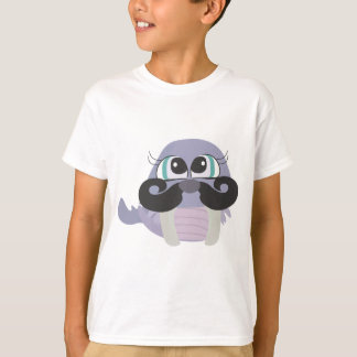 cute silly walrus cartoon with mustache T-Shirt