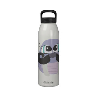 cute silly walrus cartoon with mustache reusable water bottles
