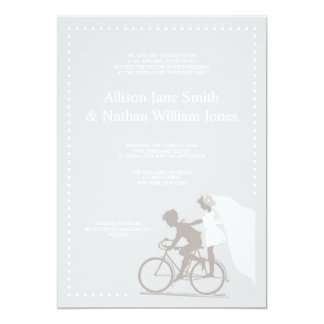 CUTE Silver Bicycle Couple Wedding Invitation
