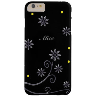 Cute silver flowers on black background barely there iPhone 6 plus case