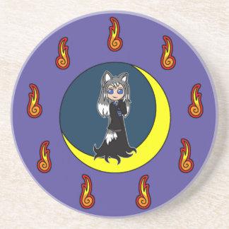 Cute Silver Fox Girl (Kitsune) Beverage Coasters