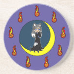 Cute Silver Fox Girl (Kitsune) Coasters