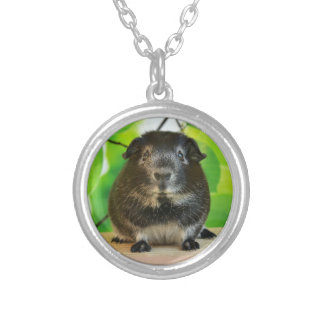Cute Silver Fox Guinea Pig and Leaves Silver Plated Necklace