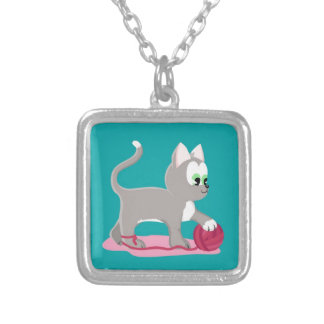 Cute silver kitten silver plated necklace