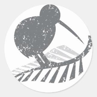 cute silver kiwi bird and silver fern distressed classic round sticker