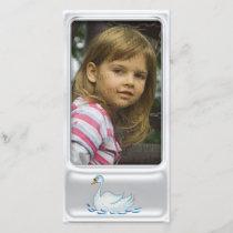 Cute silver photo frame with cute swan