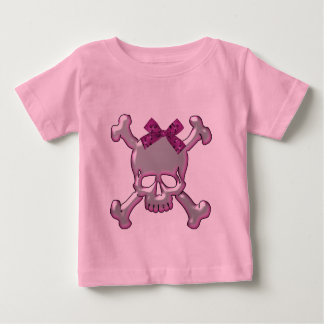 Cute Silver & Pink 3D Skull with Ribbon Baby T-Shirt