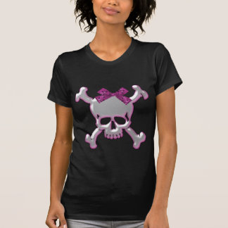 Cute Silver & Pink 3D Skull with Ribbon T-Shirt