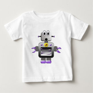Cute Silver & Purple Retro Robot Baby T-Shirt