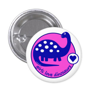Cute Simple Bright Blue Pink Dinosaur for Girls Pinback Button