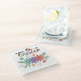 Cute Simple Colorful Flowers Glass Coaster