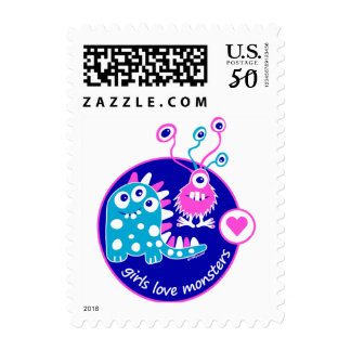 Cute Simple Funny Bright Pink Girl Monsters Design Postage