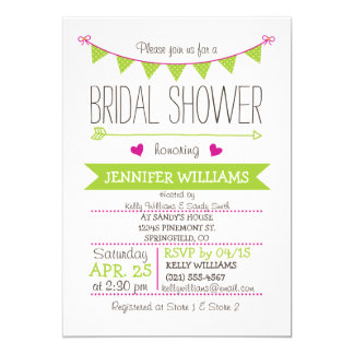 Cute, Simple, Lime Green and Fuschia Bridal Shower Cards