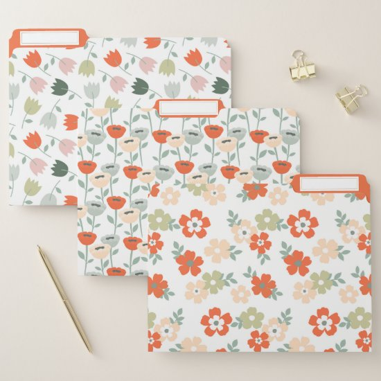 Cute Simple Orange and Green Flowers File Folder
