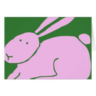 Cute Simple Pink Bunny Rabbit Happy Easter Card