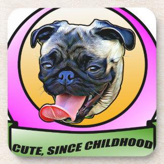 Cute since childhood Pug dog Coaster