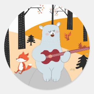Cute sing a summer song fox wolf and teddy bear classic round sticker