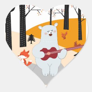 Cute sing a summer song fox wolf and teddy bear heart sticker