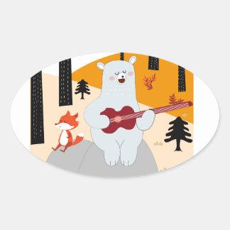 Cute sing a summer song fox wolf and teddy bear oval sticker