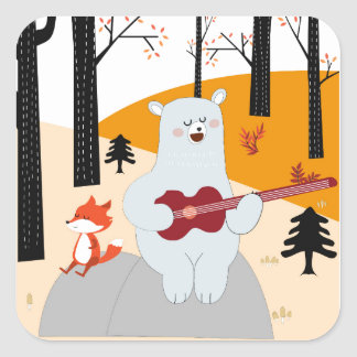Cute sing a summer song fox wolf and teddy bear square sticker