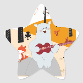 Cute sing a summer song fox wolf and teddy bear star sticker