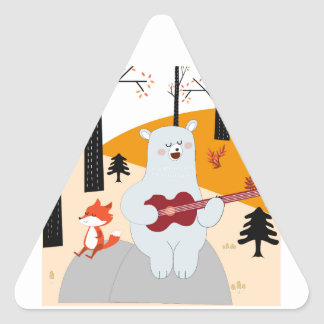 Cute sing a summer song fox wolf and teddy bear triangle sticker