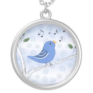 Cute Singing Blue Bird Necklace